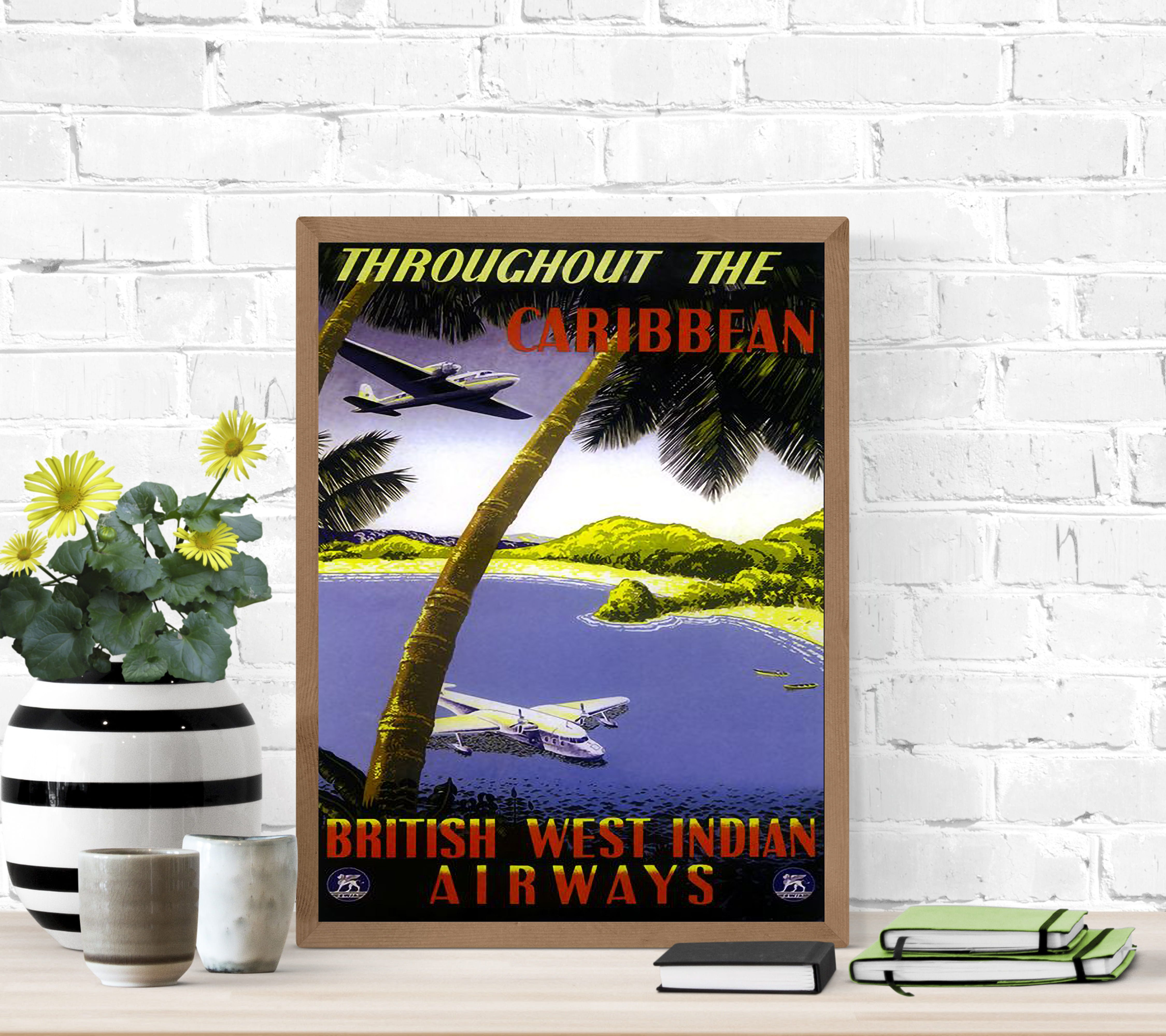 Throughout The Caribbean Vintage Travel Poster Poster Von Stickart Marek In 2020 Grusskarte Poster Kunstdruck