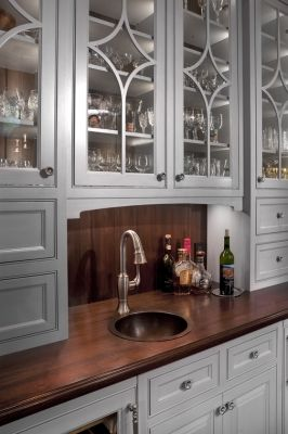 Wet Bar Wood Top Copper Sink Maybe Glass Cabinet Vs Mirror Custom Kitchen Cabinets Custom Cabinetry Kitchen Cabinet Design