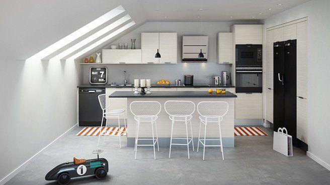 ilot central avec coin repas int gr cuisine salle manger pinterest kitchens. Black Bedroom Furniture Sets. Home Design Ideas