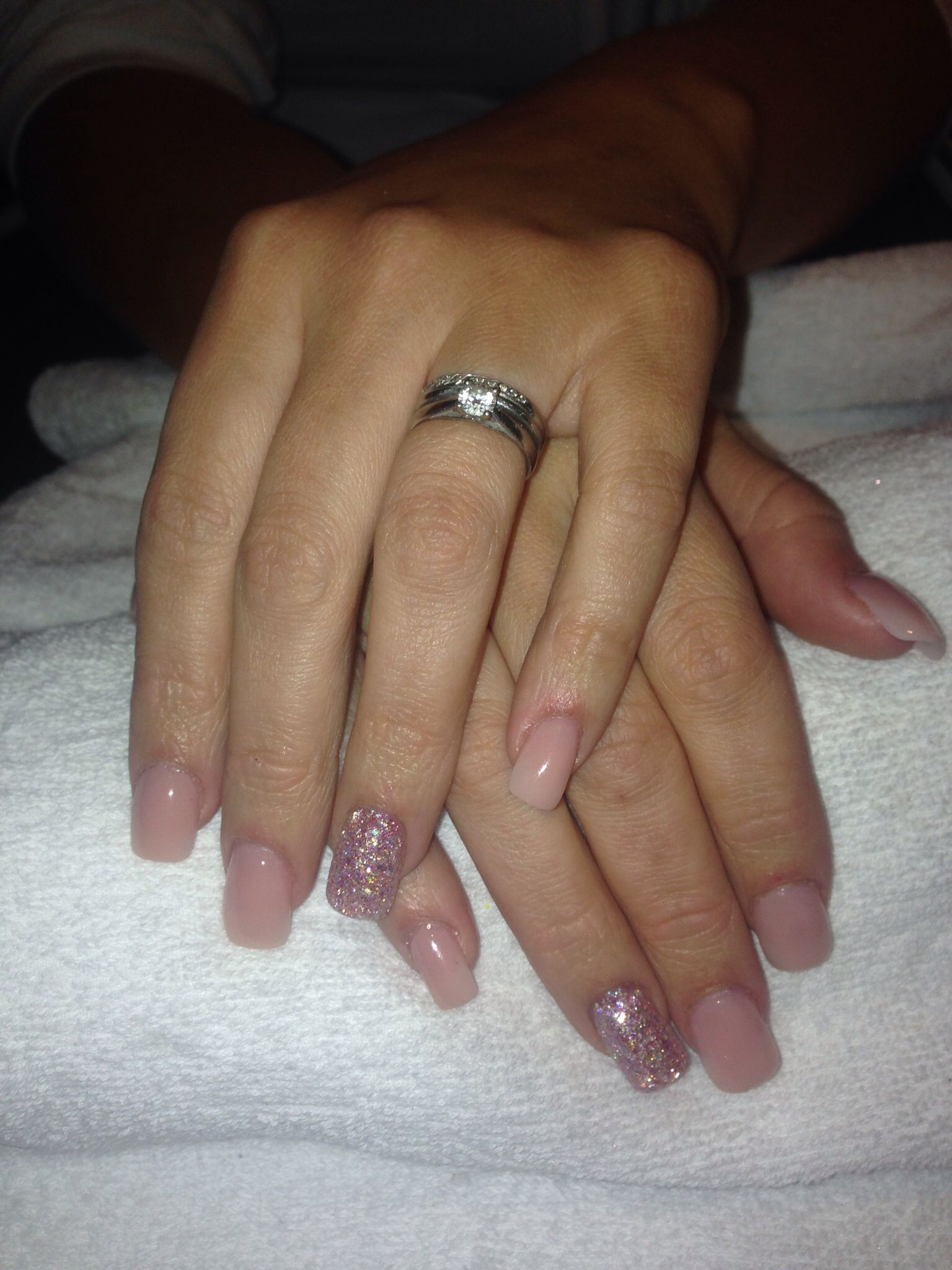 Natural acrylics with chunky glitter pixi dust & diamond love mix ...