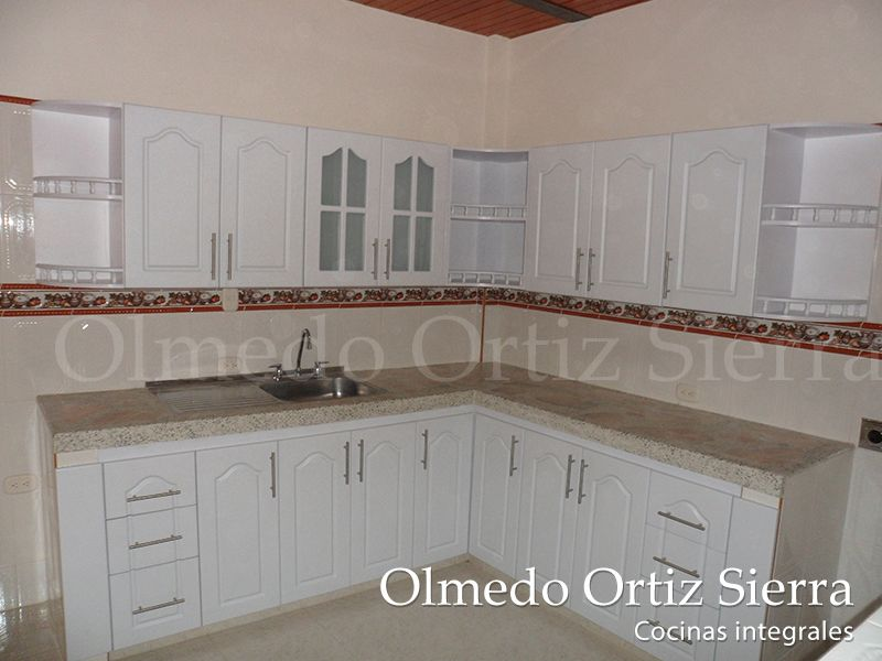 Cocina Integral Blanca en L Puertas, escaleras, diseños - Cocinas Integrales Blancas