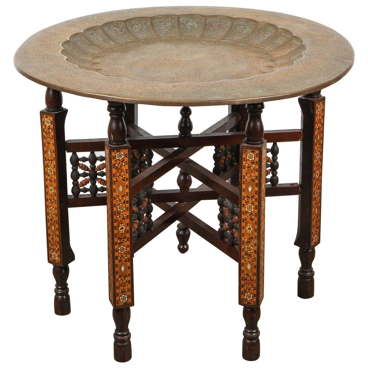 Japanese End Table Wood Accent Stand Modern Lamp Furniture: Moorish Brass Tray Table On Inlaid Folding Stand