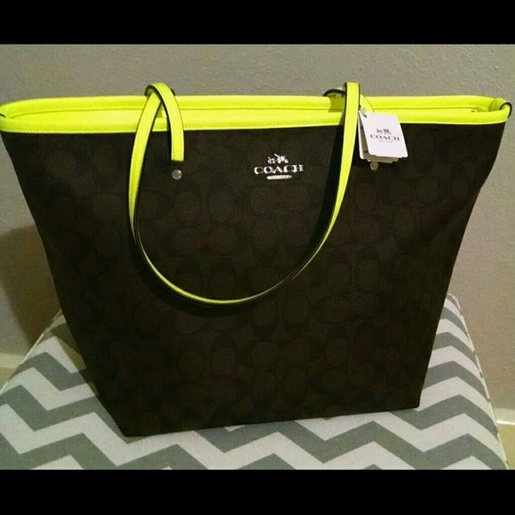 NWT COACH Neon Taxi Tote! Chocolate brown COACH tote with Neon yellow  Accents! Gorgeous 5245f95e4625b
