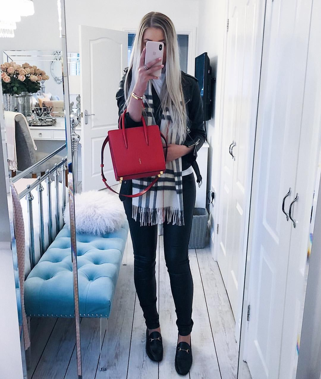 6e123b441 Instagram: @emilyjanehardy - Black allsaints biker jacket, Burberry scarf,  red Christian Louboutin paloma bag, black Gucci Jordaan loafers