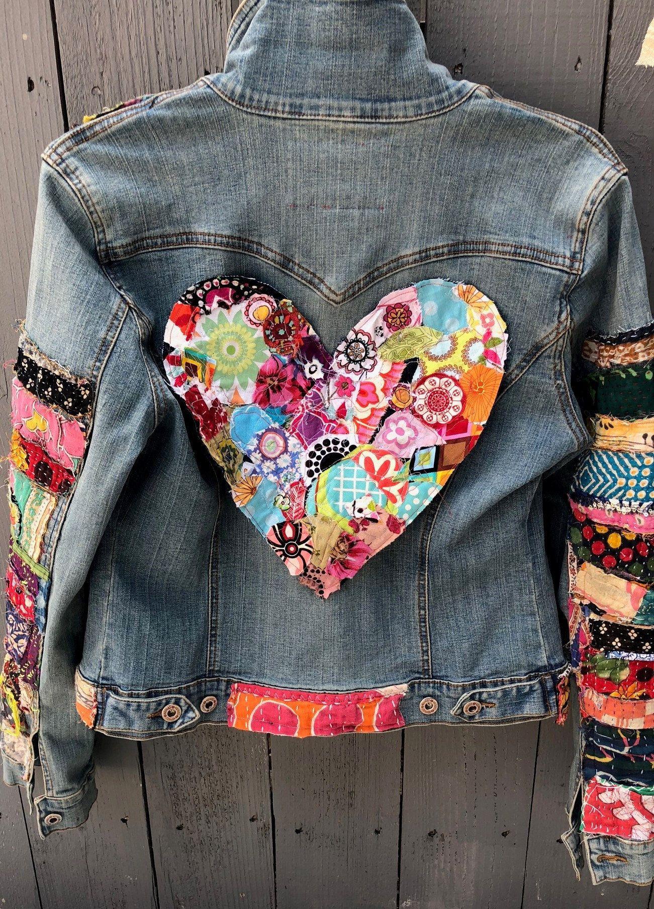 Jean Jacket Hippie Boho Embellished Colorful Denim Jean Jacket Denim Jean Jacket Colored Denim Hippie Boho [ 1809 x 1301 Pixel ]