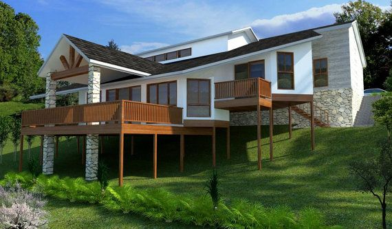 277m2 4 Bedrooms Home Planr 4 Bed 3 Or 4 Bedroom Plus Double Garage Home Plans Modern Home For Sloping Land Hillsde Blueprint Country Home Exteriors House Plans Australia House Designs Exterior