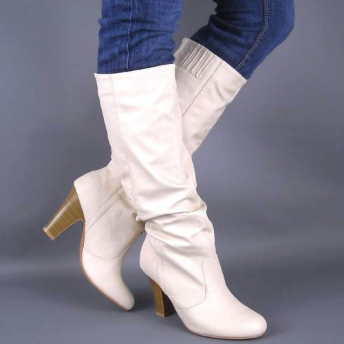 NEW IVORY SLOUCH CHUNKY HIGH HEEL BOOTS