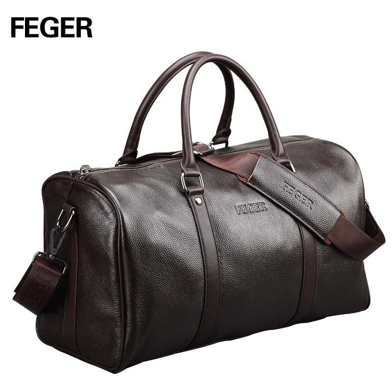 9f4fe1c28786 Free shipping FEGER brand fashion extra large weekend duffel bag big  genuine leather business men s travel bag popular design