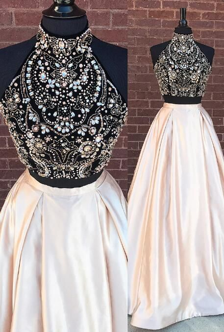 0077b079c5c8 Gorgeous Two Piece Beads Long Prom Dress from dreamdressy