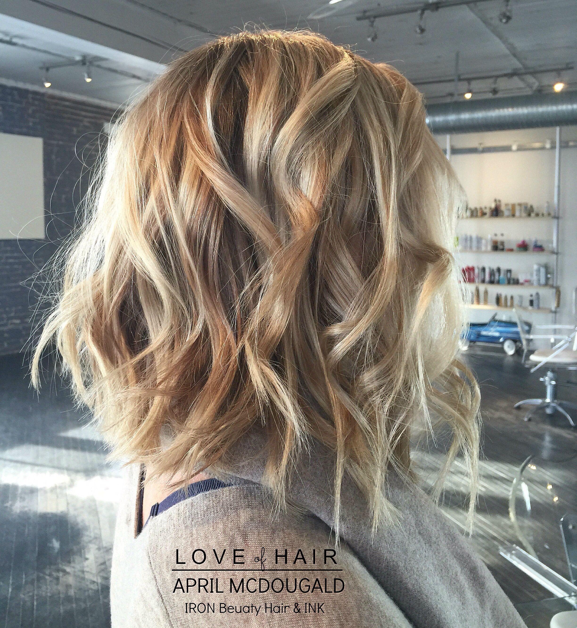 Balayage Blonde Hair Lob Short Hair Curls Highlights Lowlights