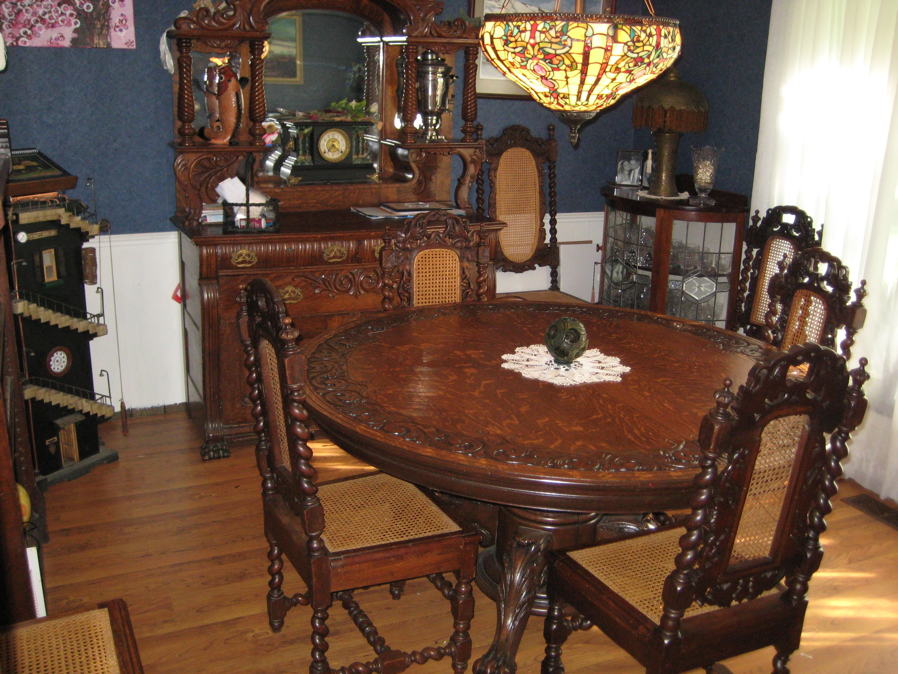 Dining Room Hand Carved Oak Table 1920 S With Oak Buffet With 1915 Oak Handcarved Barley Twist Hunter Chairs From England Wi Banquet Seating Oak Table Dining