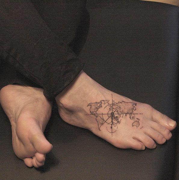 80 ridiculously cool tattoos for men tattoo dream pinterest world map tattoo on foot by lindsay april gumiabroncs Images