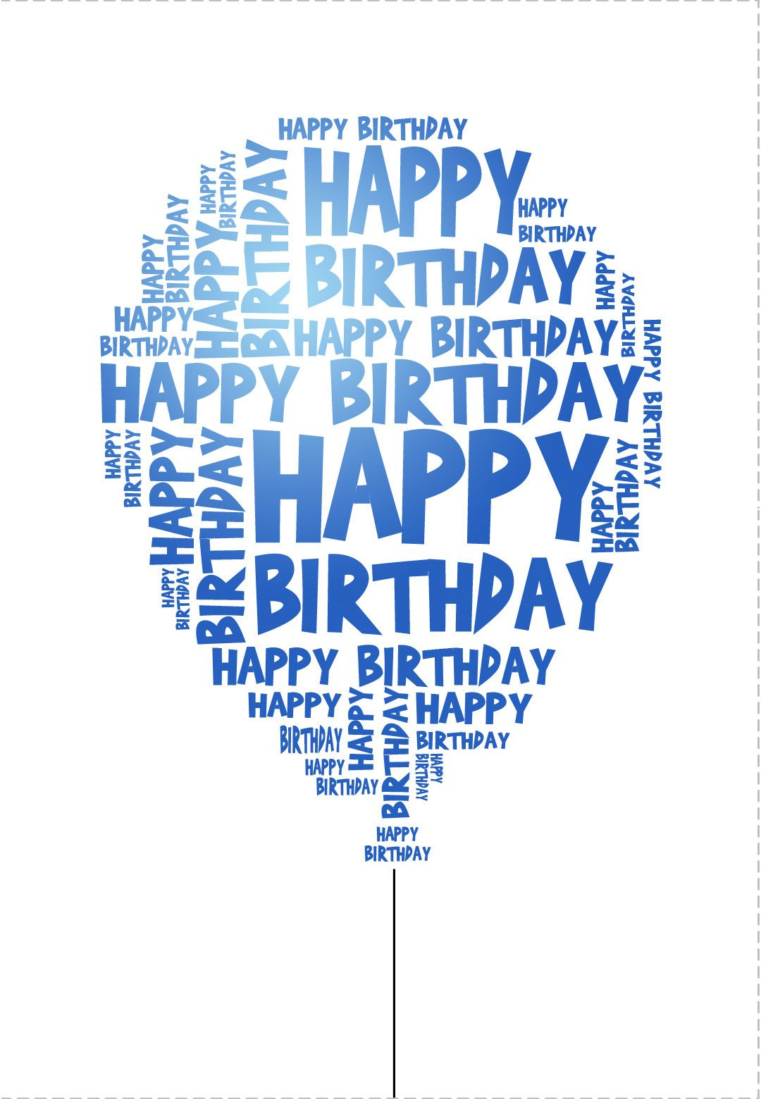 Blue Birthday Balloon – Free Textable Birthday Cards