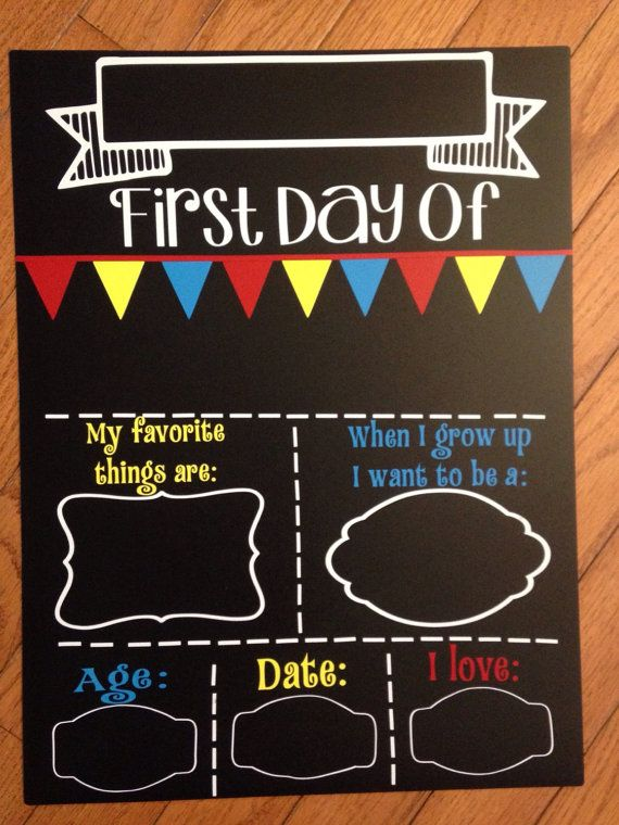 First day of school chalkboard reusable fill in the by for First day of school sign template