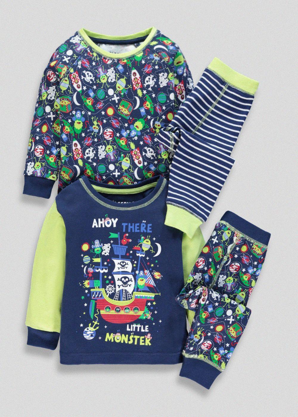 ba68d17608931 Kids 2 Pack Space Monster Pirate Pyjamas (9mths-5yrs) – Navy – Matalan