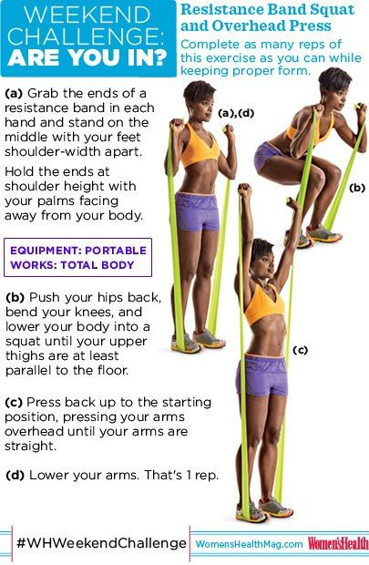 #WHWeekendChallenge Resistance Band Squat and Overhead Press. Few workout tools beat the efficiency of the multitasking resistance band, which is super affordable and takes up less space in your bag than an iPod. This total body move is proof! So...ARE YOU IN?