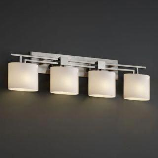 "Photo of Justice Design Group FSN-8704-30-OPAL-NCKL Fusion Brushed Nickel 36 ""Aero 4 Light Bathroom Vanity Lamp with Oval Opaline Glass Shades – LightingDirect.com"