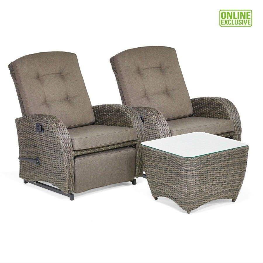 bellevue 2-seater reclining chair rattan garden furniture set in