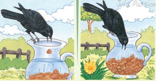 Story drawing of a thirsty crow