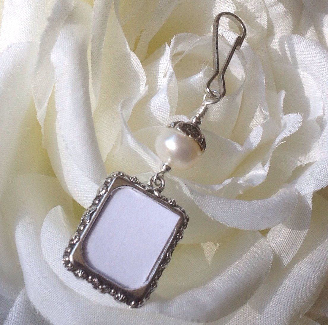 Wedding Bouquet Photo Charm Pearl Bridal Bouquet Charm With Small