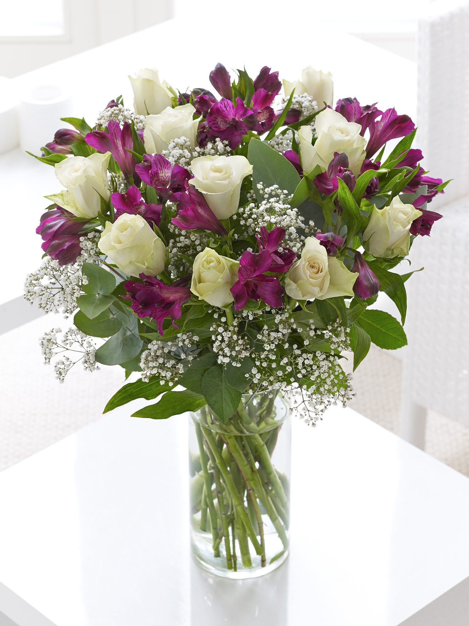 Fairtrade White Rose And Alstroemeria Hand Tied Interflora