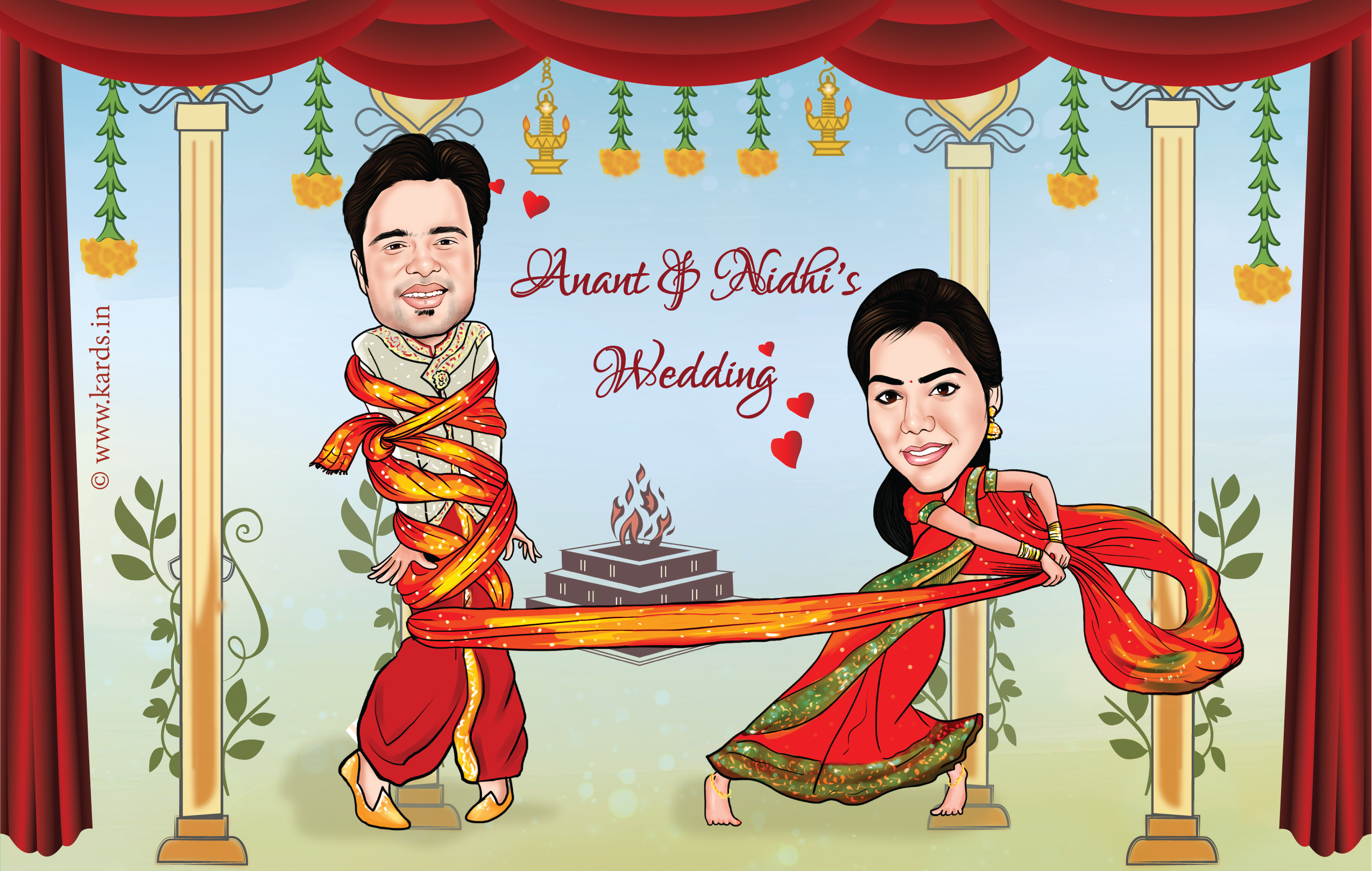 A Cute And Funny Caricature Of A Couple Where The Bride Gets The Groom Knotted For Funny Wedding Invitations Caricature Wedding Invitations Caricature Wedding