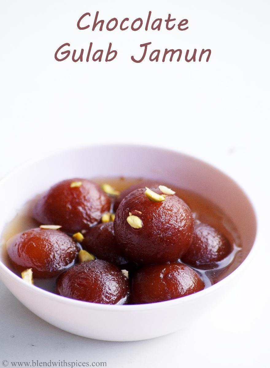 Chocolate Stuffed Gulab Jamun Recipe With Instant Mix Without Khoya Recipe Indian Dessert Recipes Gulab Jamun Indian Desserts