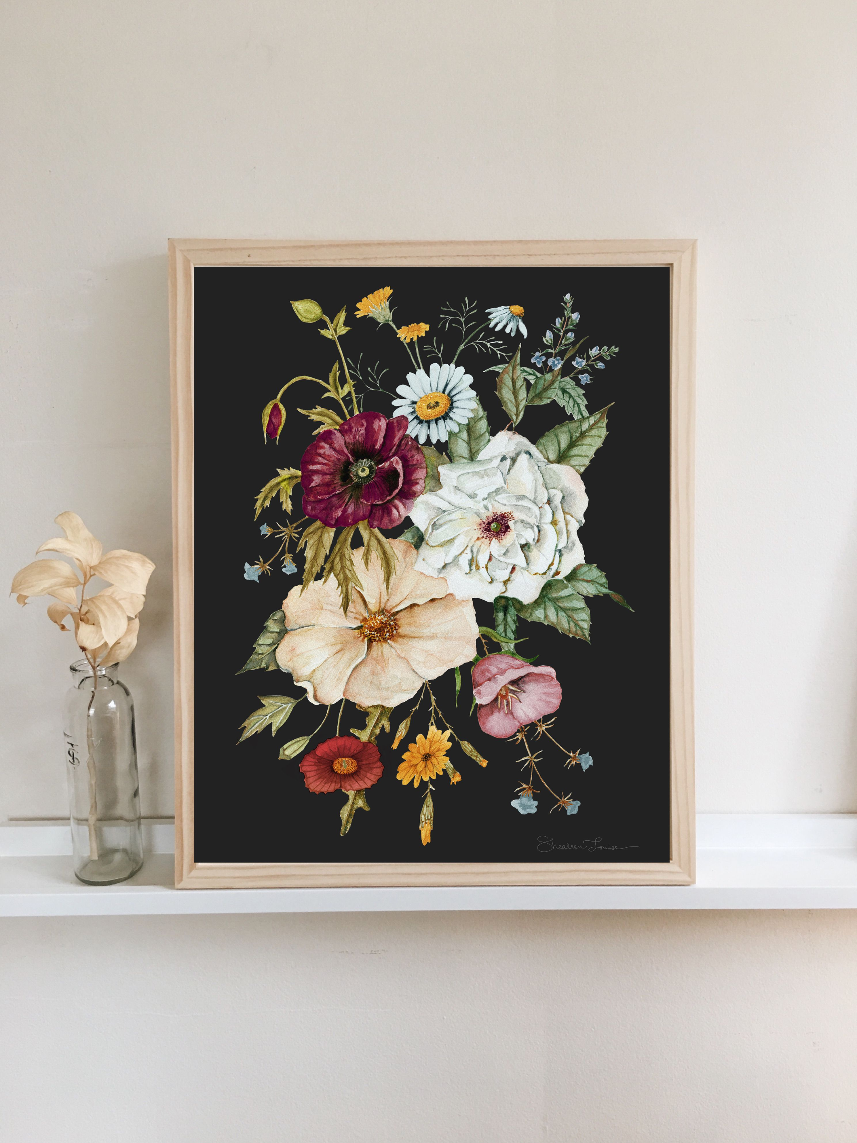 Colorful wildflower bouquet watercolor painting on moody charcoal