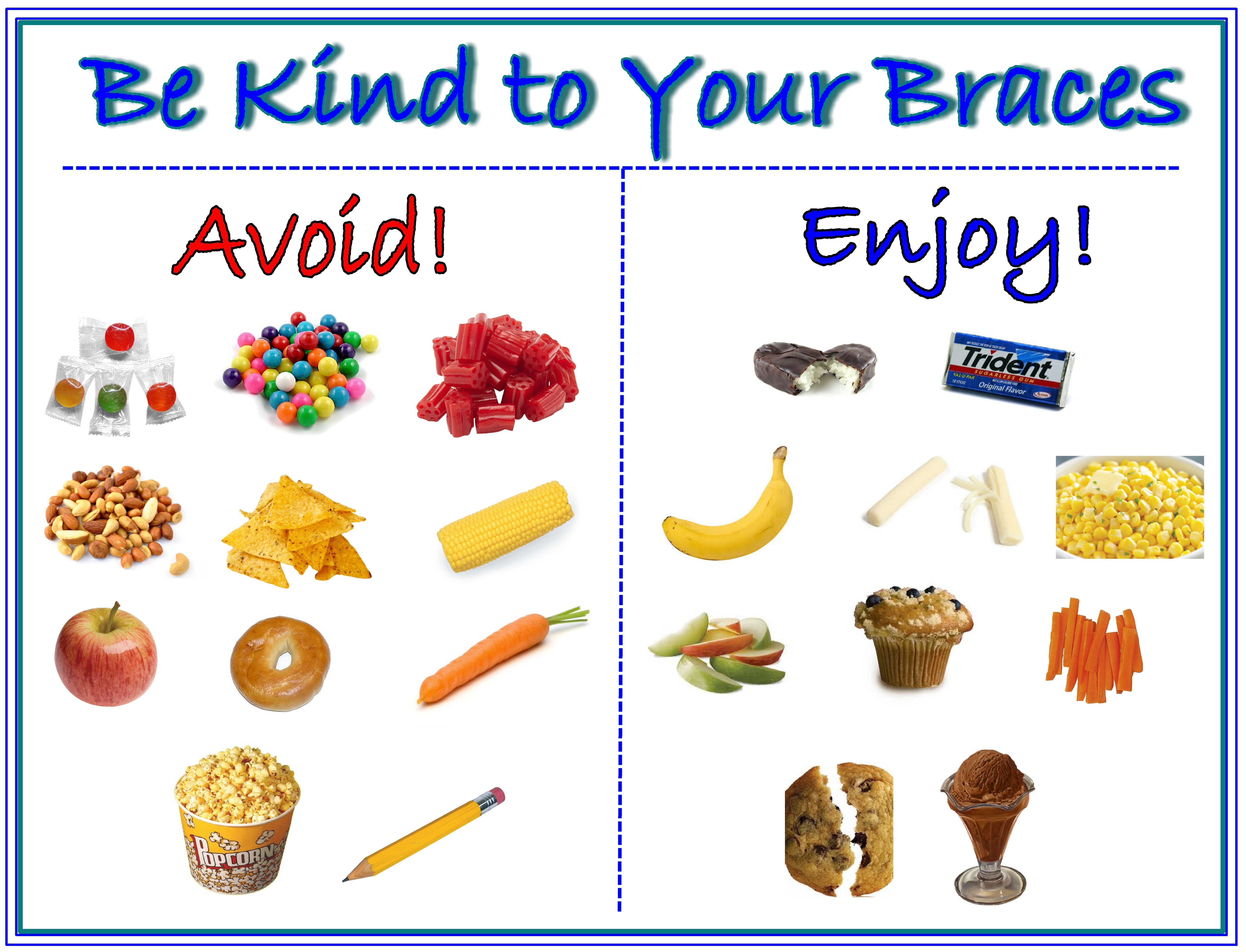 Be Kind To Your Braces Chart Foods Avoid Enjoy When You Have