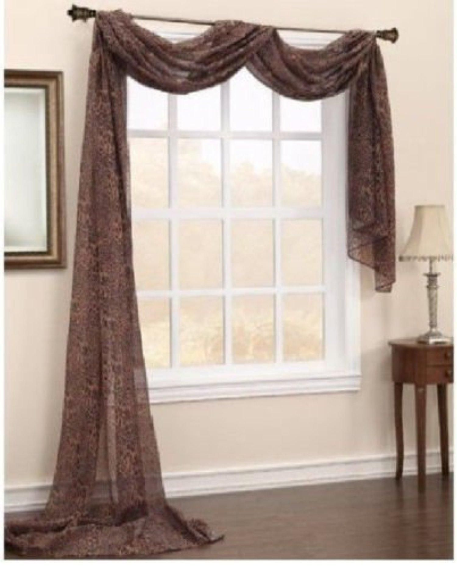 ideas kitchen valances home curtain fabric valance brown for masculine pretty window