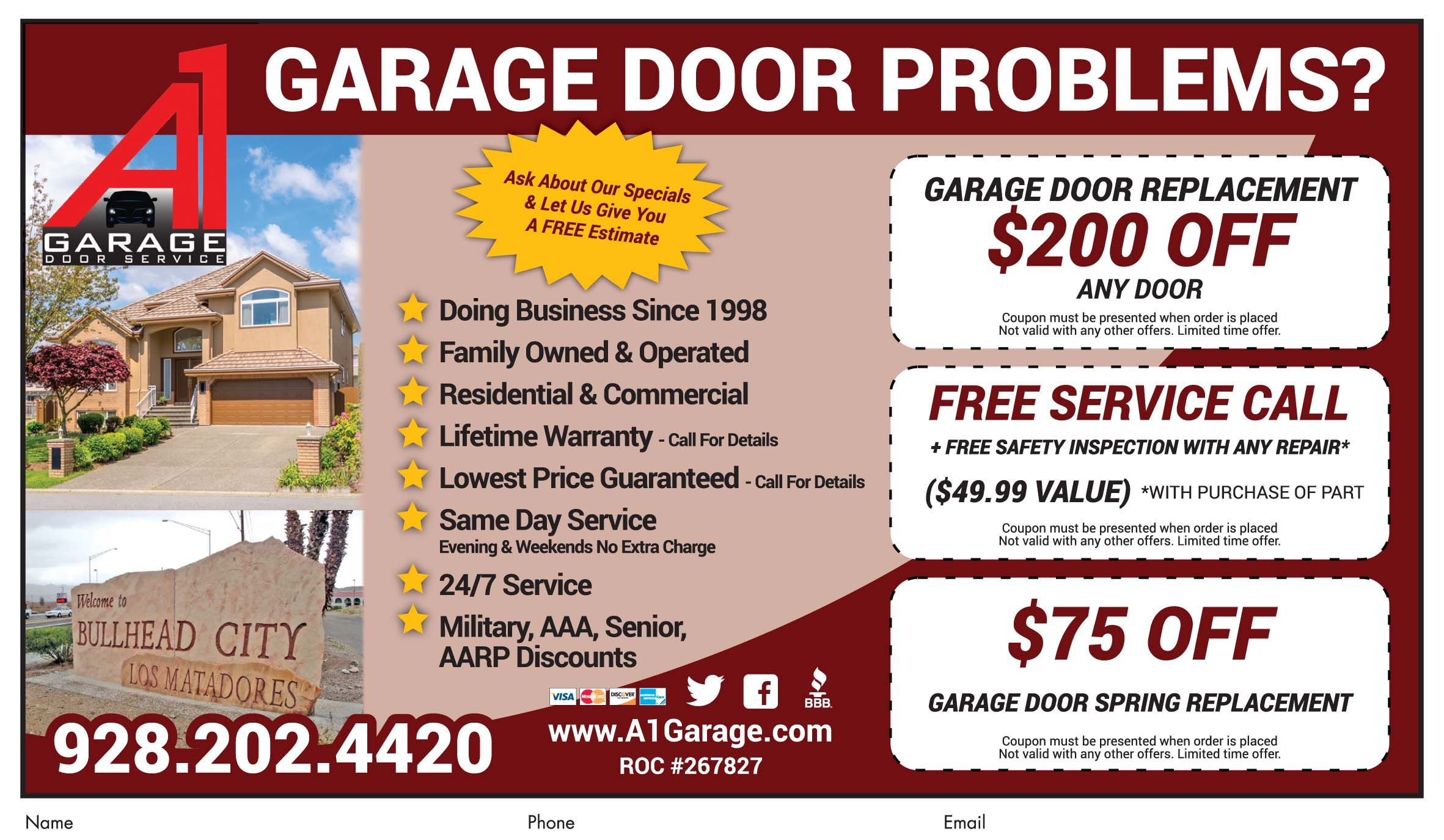 Get 200 Off Any Garage Door Replacement At A1 Garage Door Repair In Bhc Call Now For Deal Garage Door Replacement Garage Door Problems Garage Door Repair