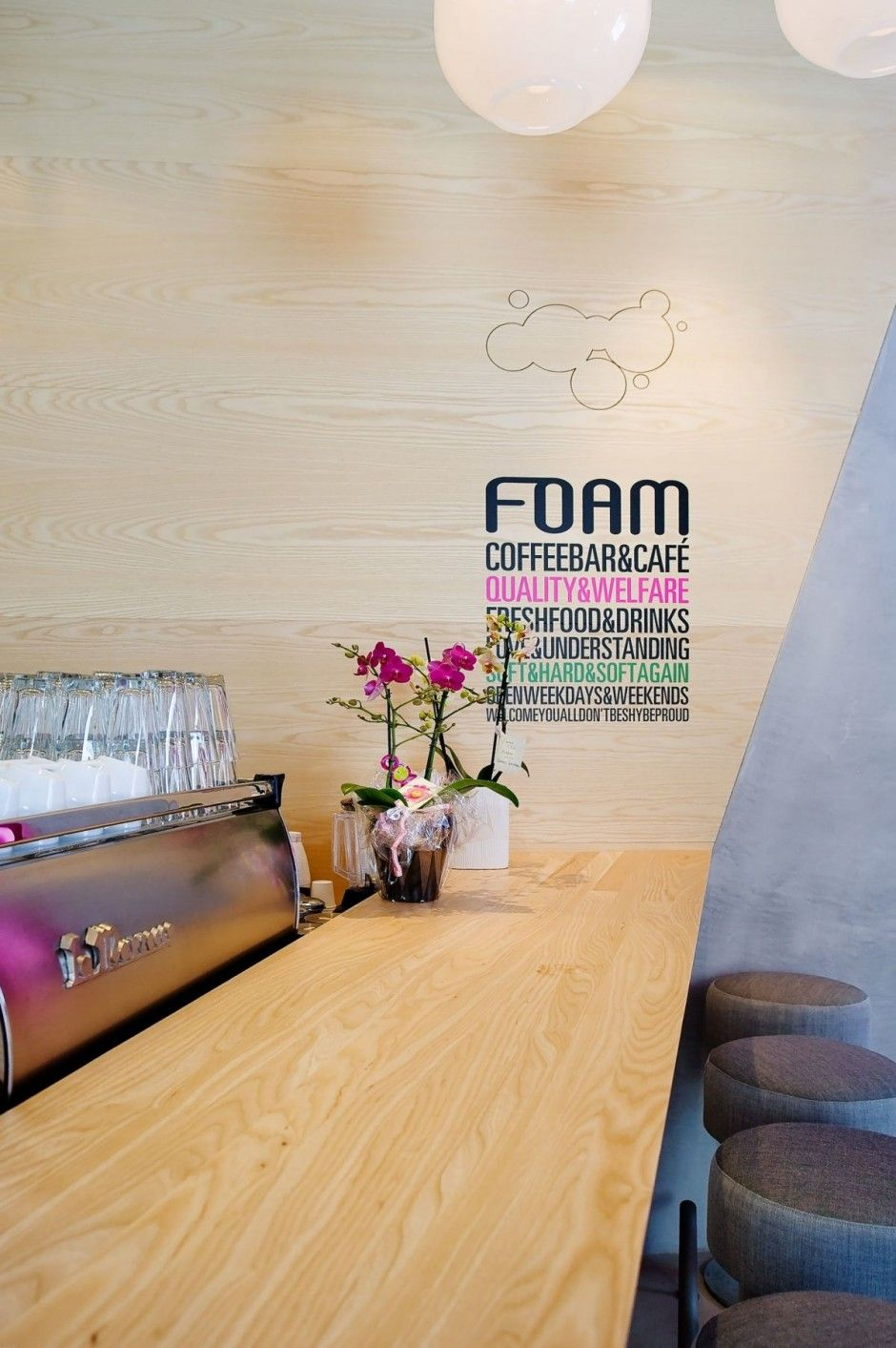 Foam Coffee Bar & Café. Perfectly placed wall typography. | Cafe ...