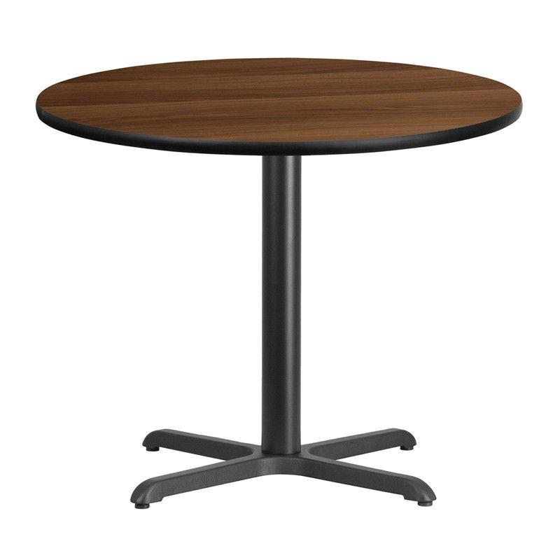 Flash Furniture 36 Inch Round Laminate Table Top With 30 Inch X 30 Inch  Table Height Base, Multiple Colors, Black
