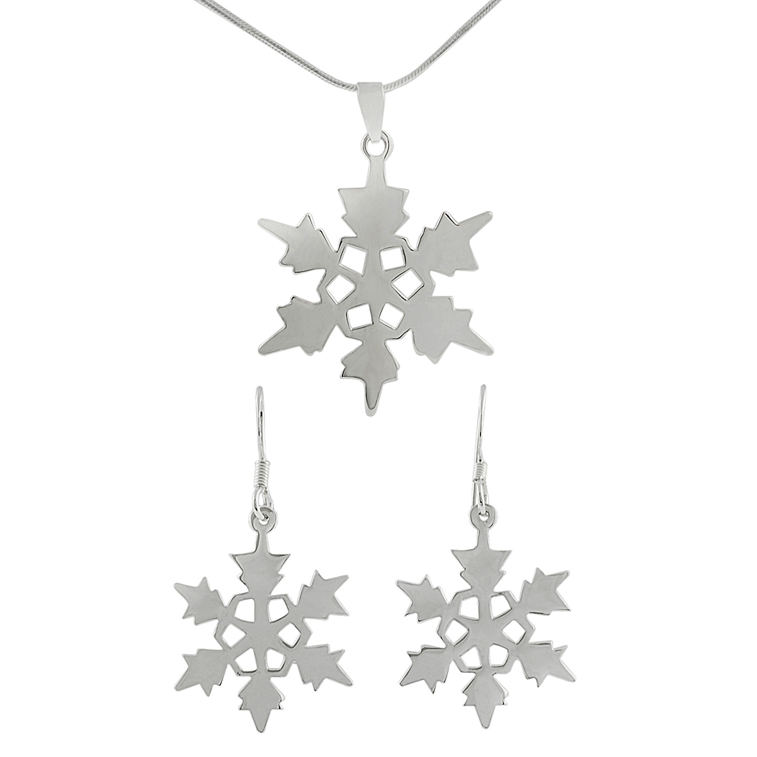 Journee Collection Sterling Silver Snowflake Earrings/ Necklace Set, Women's