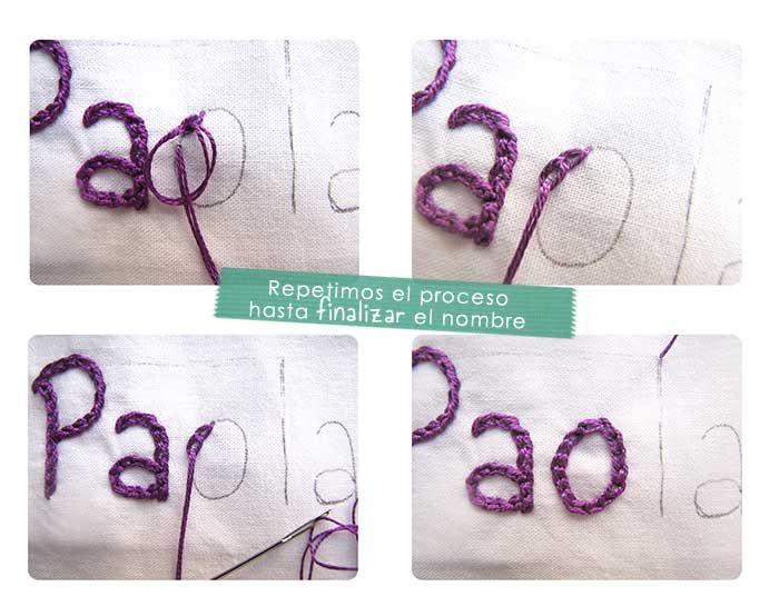 Cómo bordar un nombre a mano- Tutorial paso a paso | couture ...