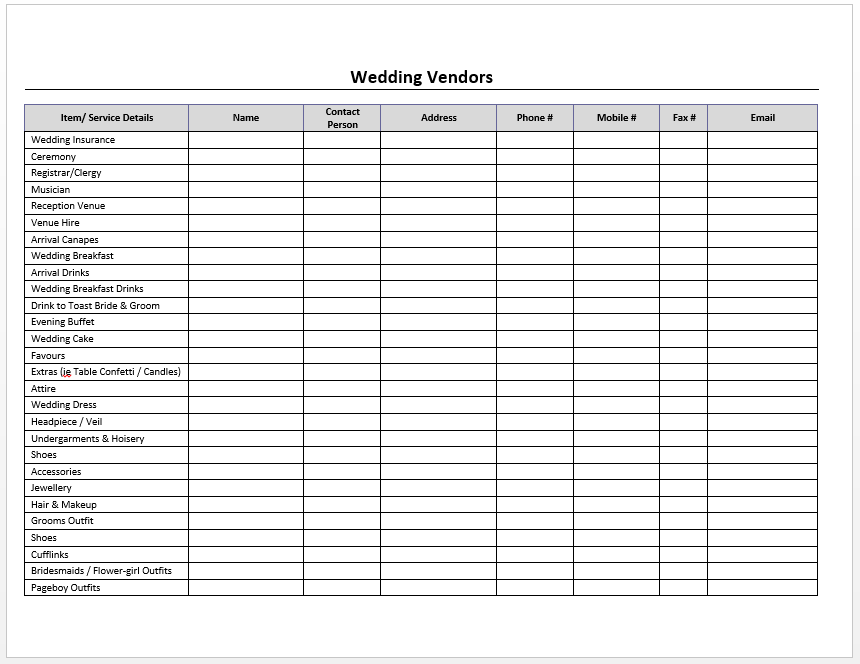 Wedding Vendors Log Template  Template    Template