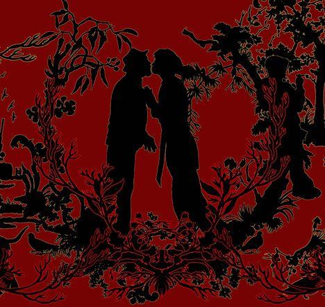 21 X 8 Carpet Artwork Glorious Black On Red Print Of Kissing