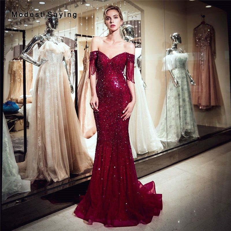 1195718aa29 Find More Evening Dresses Information about Luxury Dark Red Mermaid Off  Shoulder Evening Dress 2019 with Tassel Short Sleeves Formal Long Beaded  Engagement ...