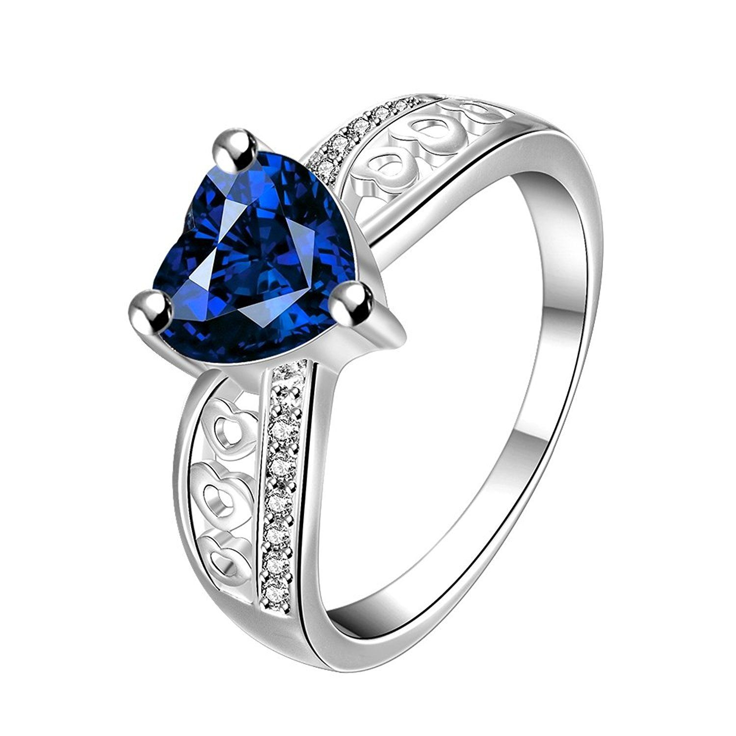 Love /& Heart Crystal Sapphire SIlver /& Gold Filled Women Lady Engagement Rings