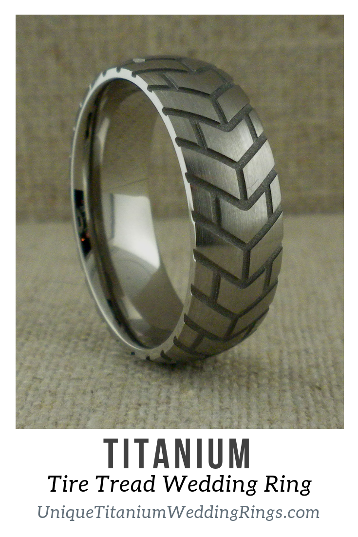 Titanium Wedding Ring With Motorcycle Tire Tread Unique Titanium Wedding Rings Titanium Wedding Rings Wedding Rings Titanium Wedding