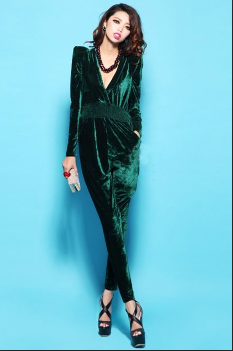 97f208f67c5 AMAZING emerald green velvet jumpsuit