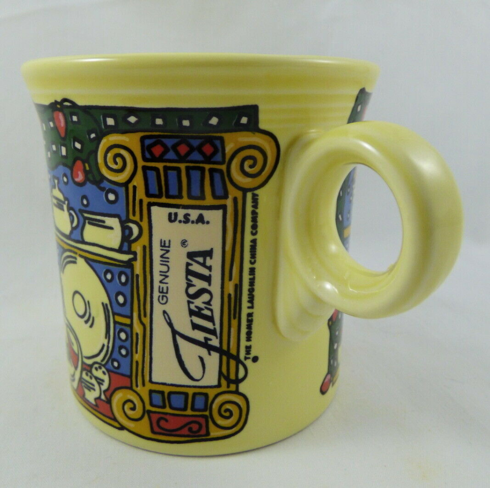 Fiesta 2020 Christmas Mug Fiesta Christmas Window Pane Ring Handled Mug Yellow | eBay in