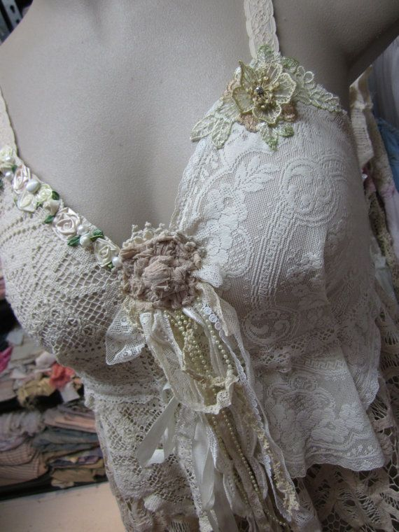 Absolutely gorgeous upcycled garments from Sisters Rose & Ruby. Wow!   Vintage Kitty.. cami dress..vintage crochet by sistersroseandruby