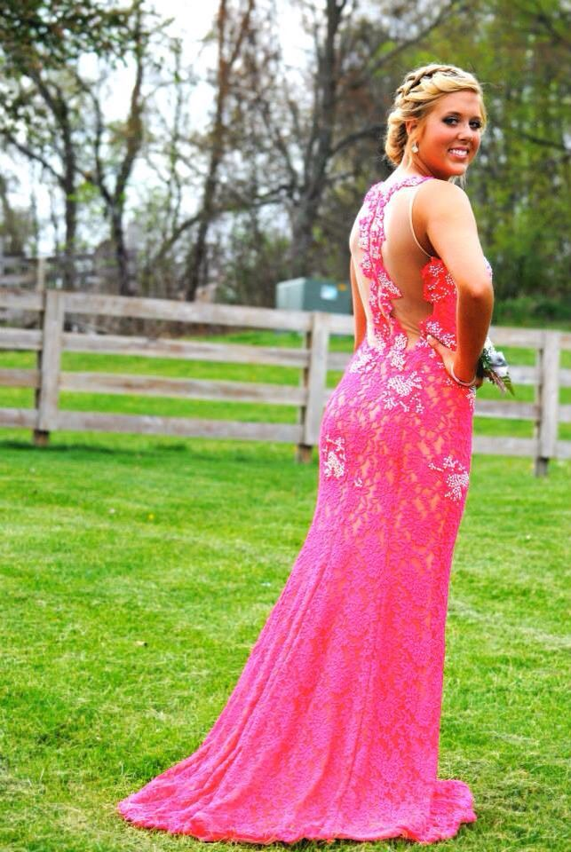 Watermelon pink prom dress / jovani / lace