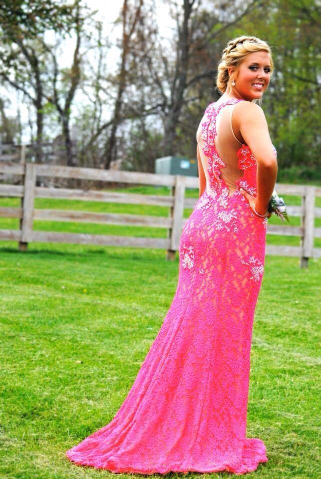 Watermelon pink prom dress / jovani / lace