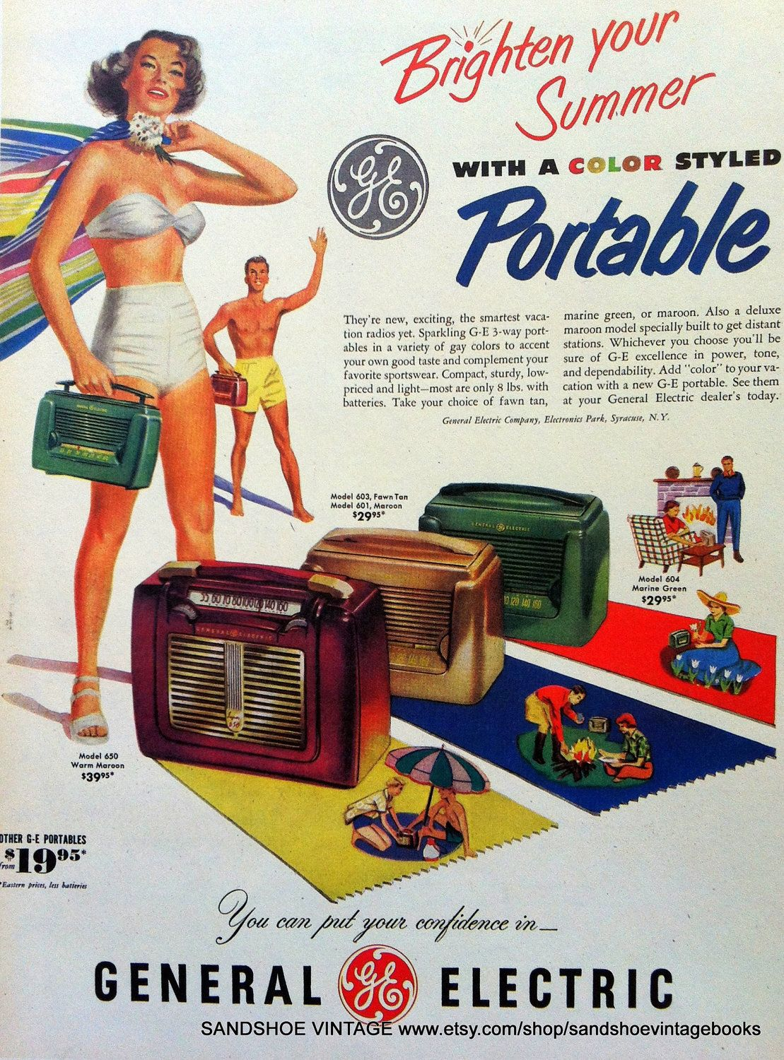 1950s TRANSISTOR PORTABLE RADIO Advertisement Ideal for
