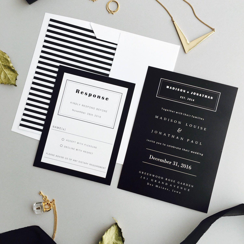 Modern Black And White Monogram Invitation Hochzeitskarten Ideen Einladung Ideen Hochzeitseinladung