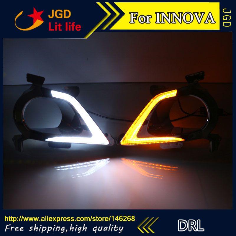 Free Shipping 12v 6000k Led Drl Daytime Running Light For Toyota Innova Fog Lamp Frame Fog Light Lamp Car Lights Light Of Life