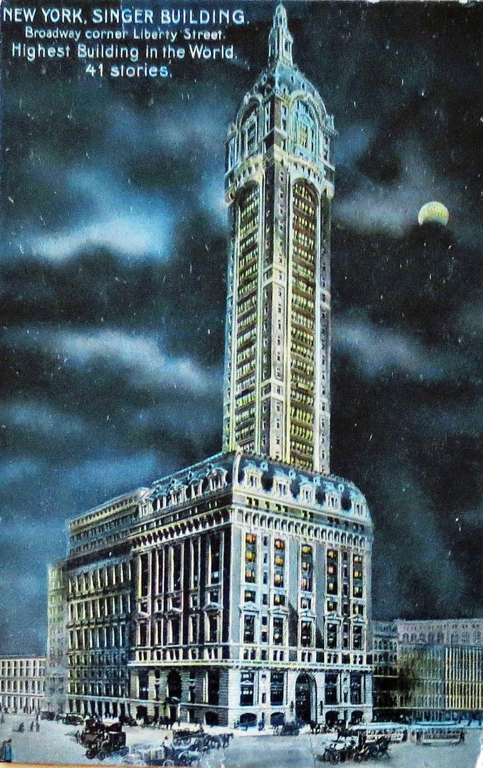 The Singer Building was the first in New York to be dramatically lit ...