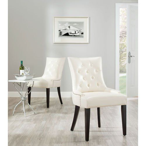 Beau Room · Safavieh Mercer Collection Heather Cream Leather Nailhead Dining  Chair ...